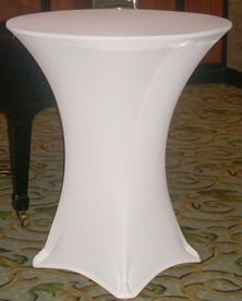 Party rental cocktail table with spandex