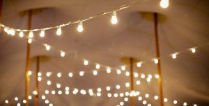 Party rental tent string lights