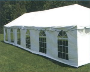 Party rental tent wall with windows