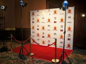 Step and repeat red carpet rental with lights