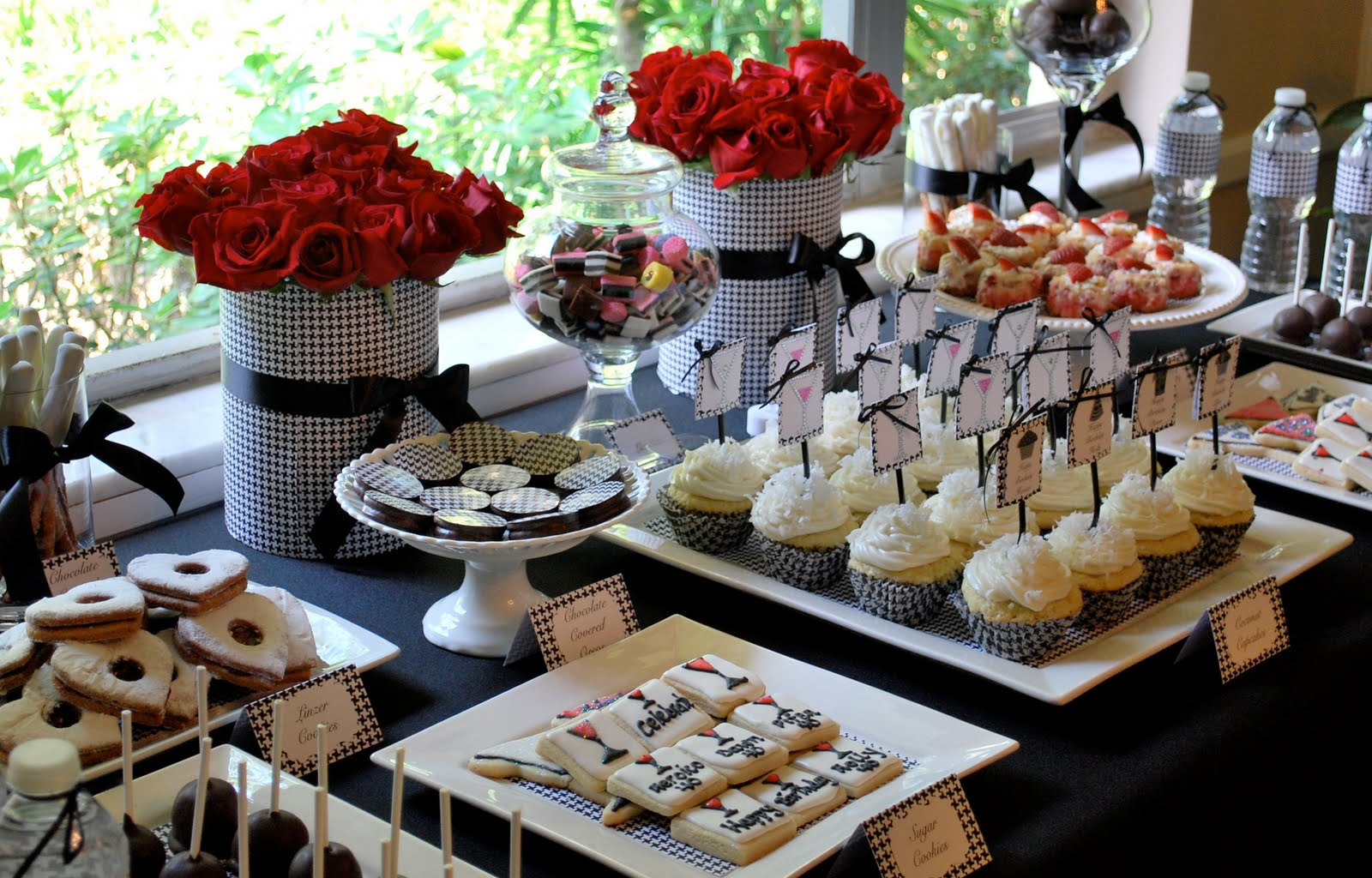 Dessert buffet miami wedding dessert sweets table quinces for Adult party decoration